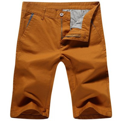 Casual Zip Fly Solid Color Shorts For Men