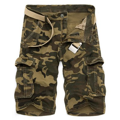 Straight Leg Zipper Fly Cargo Shorts