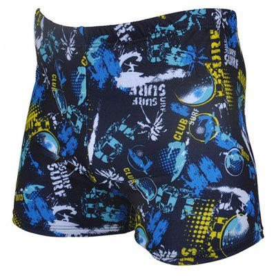 Printing Waterproof Quick-drying Men's Boxers Swimming Trunks