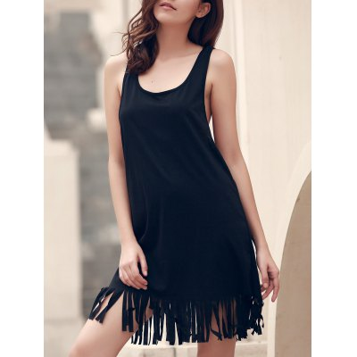 U-Neck Sleeveless Solid Color Fringed Cover-Up