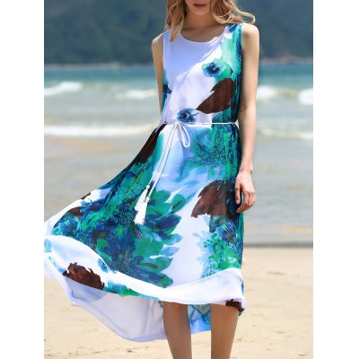 Round Collar Sleeveless Floral Print Chiffon Midi Dress