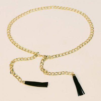Black Tassel Pendant Hollow Out Alloy Waist Chain For Women