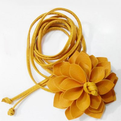 Chic Big Flower Shape Embellished Candy Color Waist Rope For Women