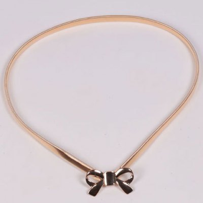 Chic Hollow Out Bow Buckle Metal Elastic Waist Belt For Women