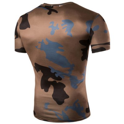 Camo Print Air Permeable Design Round Neck Short Sleeves T-Shirt For Men