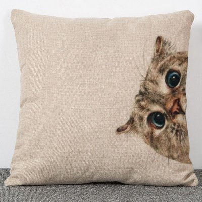 Sweet Style Animal Cat Pattern Flax Pillow Case(Without Pillow Inner)