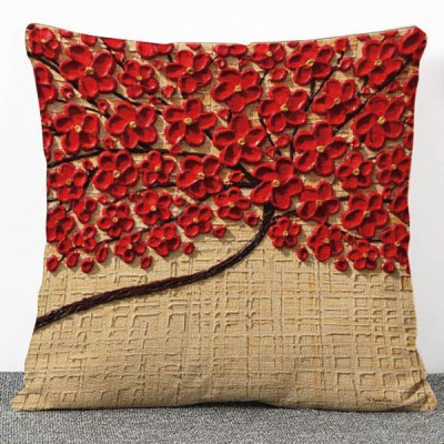 3D Red Flowers Pattern Pillow Case(Without Pillow Inner)