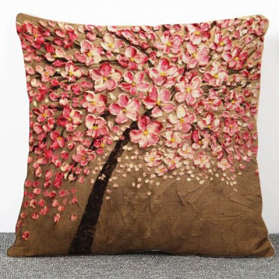 Fashionable Flax 3D Flowers Pattern Pillow Case(Without Pillow Inner)
