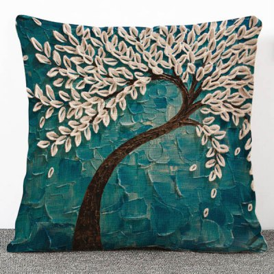 3D Trees Pattern Flax Pillow Case(Without Pillow Inner)