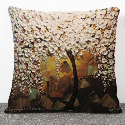 Delicate 3D Oil Painting Tree Pattern Flax Pillow Case(Without Pillow Inner)