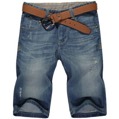 Casual Summer Ripped Straight Legs Zip Fly Denim Shorts For Men