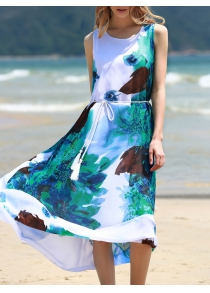 Graceful Round Collar Sleeveless Floral Print Chiffon Midi Dress For Women