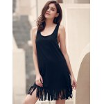Stylish U-Neck Sleeveless Solid Color Fringed Cover-Up For Women for sale