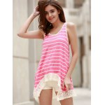 best Chic Scoop Neck Sleeveless Striped Bowknot Design Women's Tank Top