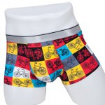 Elastic Waist Color Block Bicycle Printed Comfortable Boxer Brief For Men