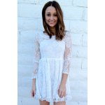 cheap Beaded High Waist Ruffled White Lace Skater Dress with Sleeves