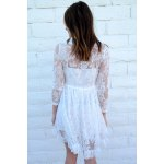 best Beaded High Waist Ruffled White Lace Skater Dress with Sleeves