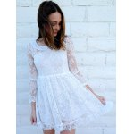 Beaded High Waist Ruffled White Lace Skater Dress with Sleeves deal