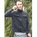 Stylish Turndown Collar Slimming Pocket and Button Design Long Sleeve Polyester Sweatshirt For Men for sale