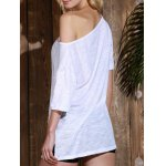 Casual 1/2 Sleeve Loose-Fitting Solid Color T-Shirt For Women for sale