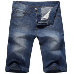 Casual Straight Legs Zip Fly Denim Jeans Shorts For Men