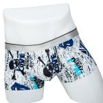 Elastic Waist Skull and Letter Print Comfortable Boxer Brief For Men