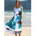 best Graceful Round Collar Sleeveless Floral Print Chiffon Midi Dress For Women