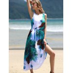 cheap Graceful Round Collar Sleeveless Floral Print Chiffon Midi Dress For Women