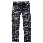 Military Style Straight Leg Multi-Pocket Loose Fit Zipper Fly Camo Cargo Pants For Men(Thicken)
