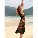 Vintage Style U Neck Sleeveless Printed Chiffon Self Tie Belt Dress For Women deal