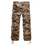 Camouflage Straight Leg Multi-Pocket Loose Fit Cargo Pants For Men