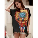 Ethnic Style Round Neck Short Sleeve Feather Print Women's T-Shirt for sale