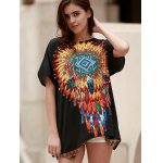 Ethnic Style Round Neck Short Sleeve Feather Print Women's T-Shirt deal