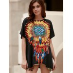 cheap Ethnic Style Round Neck Short Sleeve Feather Print Women's T-Shirt