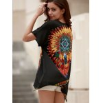 best Ethnic Style Round Neck Short Sleeve Feather Print Women's T-Shirt