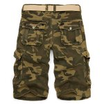 cheap Camo Print Multi-Pocket Loose Fit Straight Leg Zipper Fly Cargo Shorts For Men