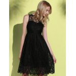 cheap Stylish Round Neck Sleeveless Solid Color Hollow Out Lace Women's Dress