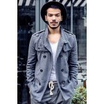Fashion Stand Collar Double Breasted Long Sleeves Woolen Windbreaker For Men deal