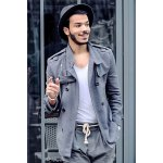 Fashion Stand Collar Double Breasted Long Sleeves Woolen Windbreaker For Men photo