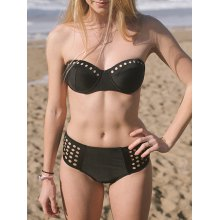 Alluring Hollow Out Solid Color Women's Bikini Set