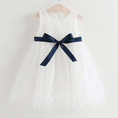 Sleeveless Embroidered Bowknot Design Girl's Dress