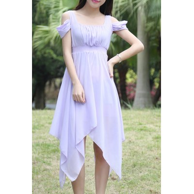 Sweet Style Square Neck Solid Color Hollow Out Hankerchief Dress For Women