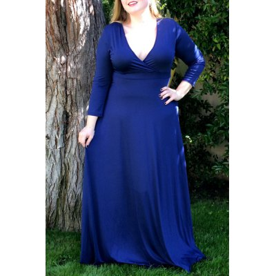 Plunging Neckline 3/4 Sleeve Plus Size Solid Color Dress For Women