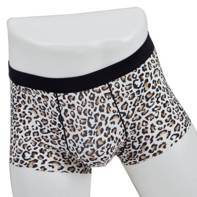 Elastic Waist Leopard Pattern Comfortable Boxer Brief For Men