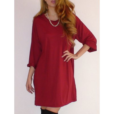 Fashionable Solid Color Scoop Neck Short Sleeve Dress For Women