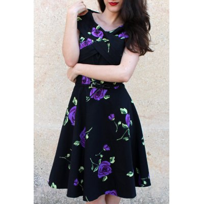 Retro Style V-Neck Rose Print Short Sleeve Ball Dress