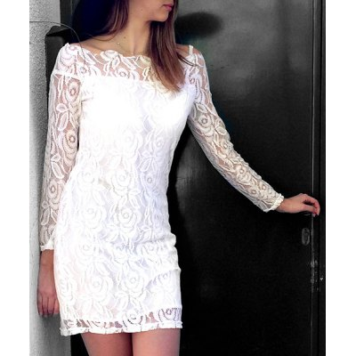 White Off-The-Shoulder Long Sleeve Bodycon Crochet Lace Dress