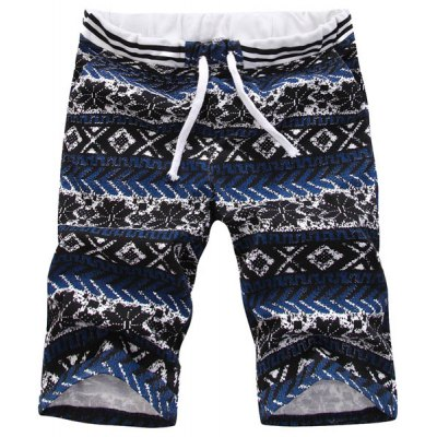 Casual Straight Leg Tribal Print Lace-Up Shorts For Men