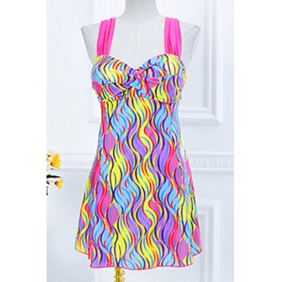 Sweetheart Neckline Push-Up  Printed One-Piece Swimsuit For Women