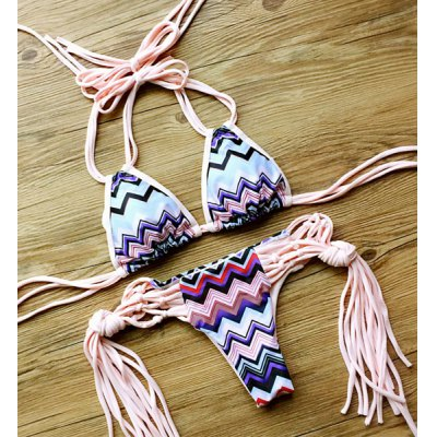 Stylish Halter Neck Tribal Print Women's Bikini Set